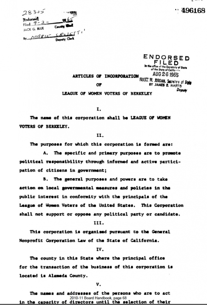 LWVB Articles of Incorporation p. 1
