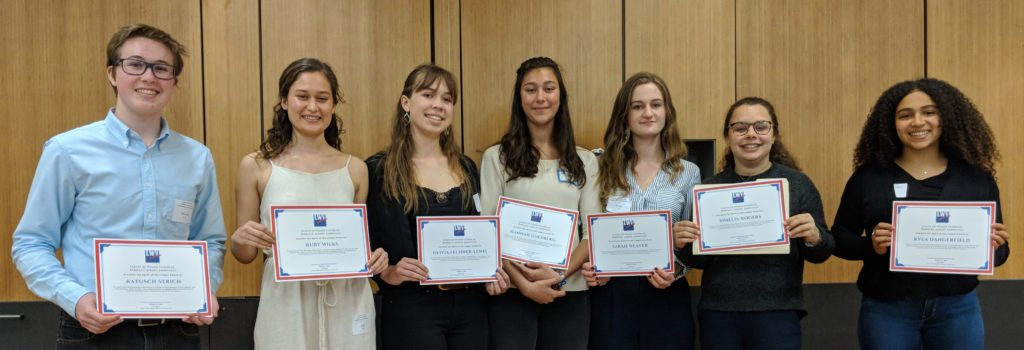 Students given the Spirit of the League awards, Annual Meeting May 2018