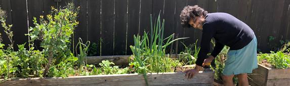 Swapan Gandhi in his garden